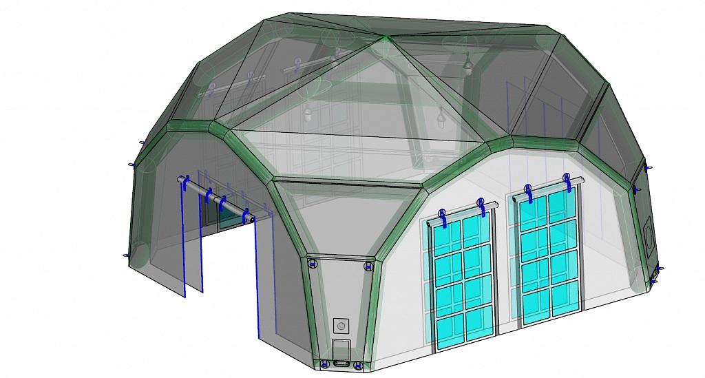 Надувная пневмокаркасная палатка-укрытие для военной техники