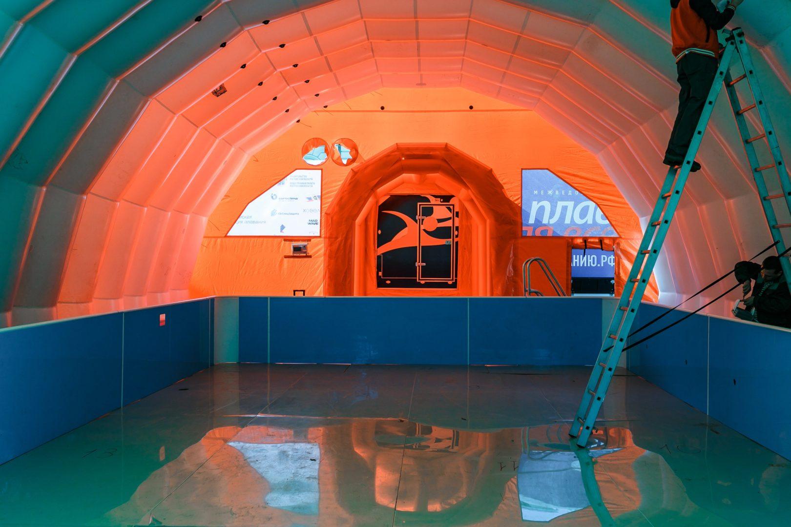 Мобильный надувной ангар для передвижного бассейна ВСЕОБУЧ по плаванию