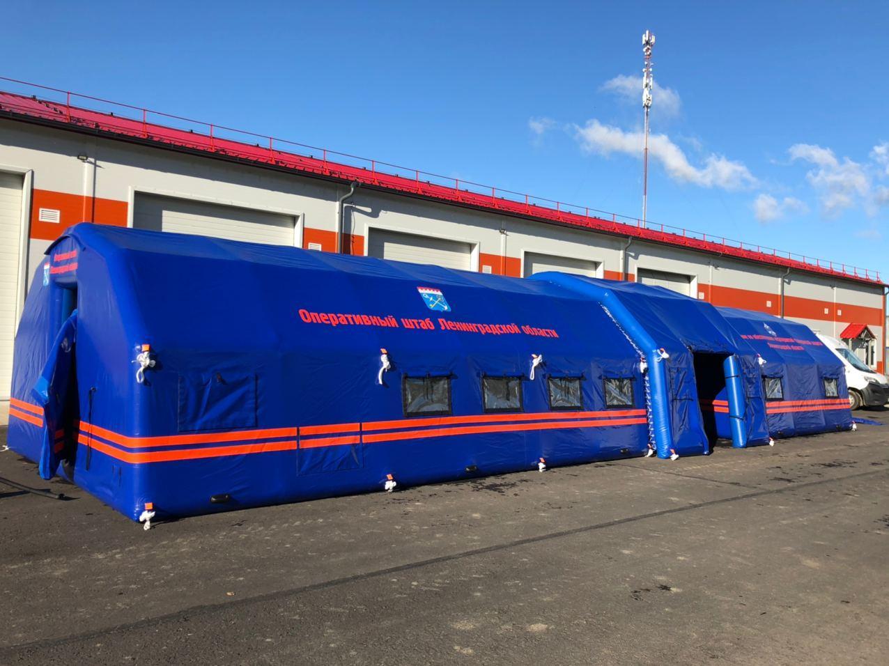 Комплекс из 2-х пневмокаркасных модулей и тамбура по гос заказу для МЧС в Лен. области